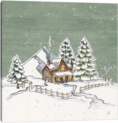 Holiday Toile Cabin Neutral Crop Canvas Art Print