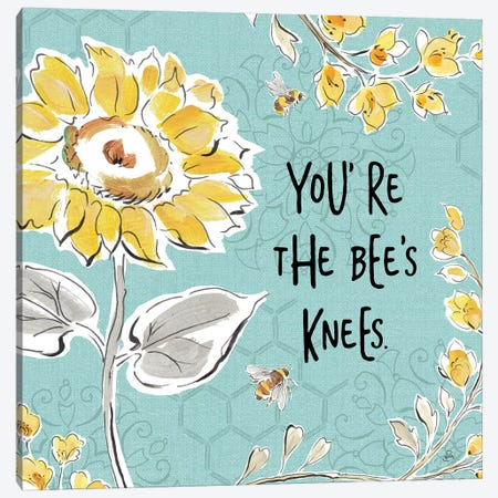 Bee Happy II Linen Canvas Print #DAB29} by Daphne Brissonnet Canvas Wall Art