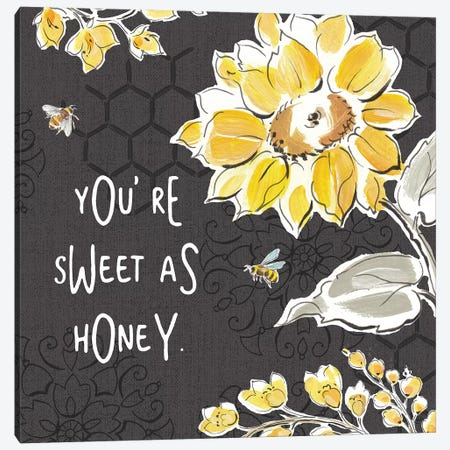Bee Happy III Black Canvas Print #DAB30} by Daphne Brissonnet Canvas Print