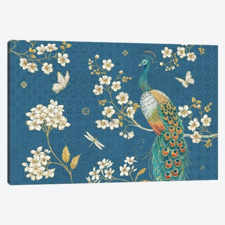 Ornate Peacock II Blue Canvas Print #DAB85} by Daphne Brissonnet Canvas Print