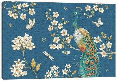 Ornate Peacock II Blue Canvas Art Print
