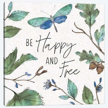 Outdoor Beauties Color I Be Happy and Free Canvas Print #DAB94} by Daphne Brissonnet Canvas Wall Art