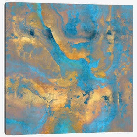 Stone with Turquoise and Gold Canvas Print #DAC103} by Danielle Carson Canvas Art
