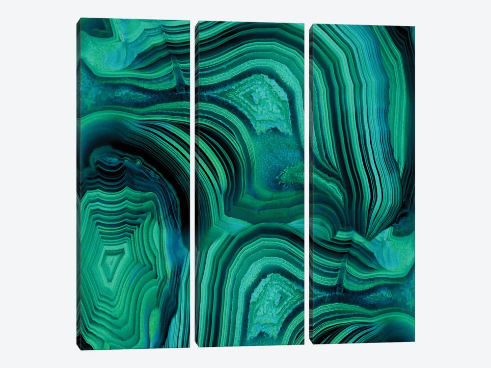 Malachite In Green And Blue by Danielle Carson 3-piece Canvas Art Print
