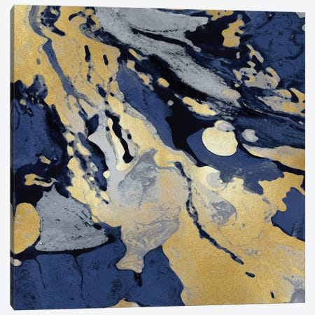Marbleized In Gold And Blue I Canvas Print #DAC32} by Danielle Carson Canvas Art