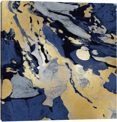 Marbleized In Gold And Blue I Canvas Art Print