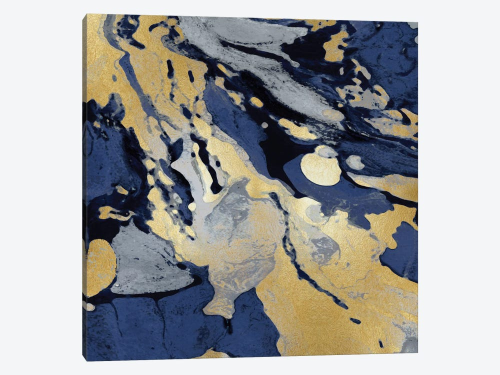 Marbleized In Gold And Blue I 1-piece Canvas Artwork