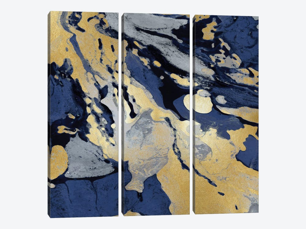 Marbleized In Gold And Blue I 3-piece Canvas Artwork