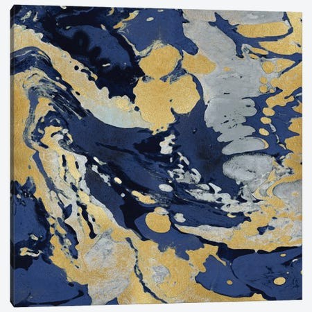 Marbleized In Gold And Blue II Canvas Print #DAC33} by Danielle Carson Canvas Wall Art