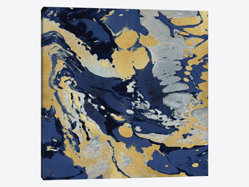 Marbleized In Gold And Blue II by Danielle Carson 1-piece Art Print
