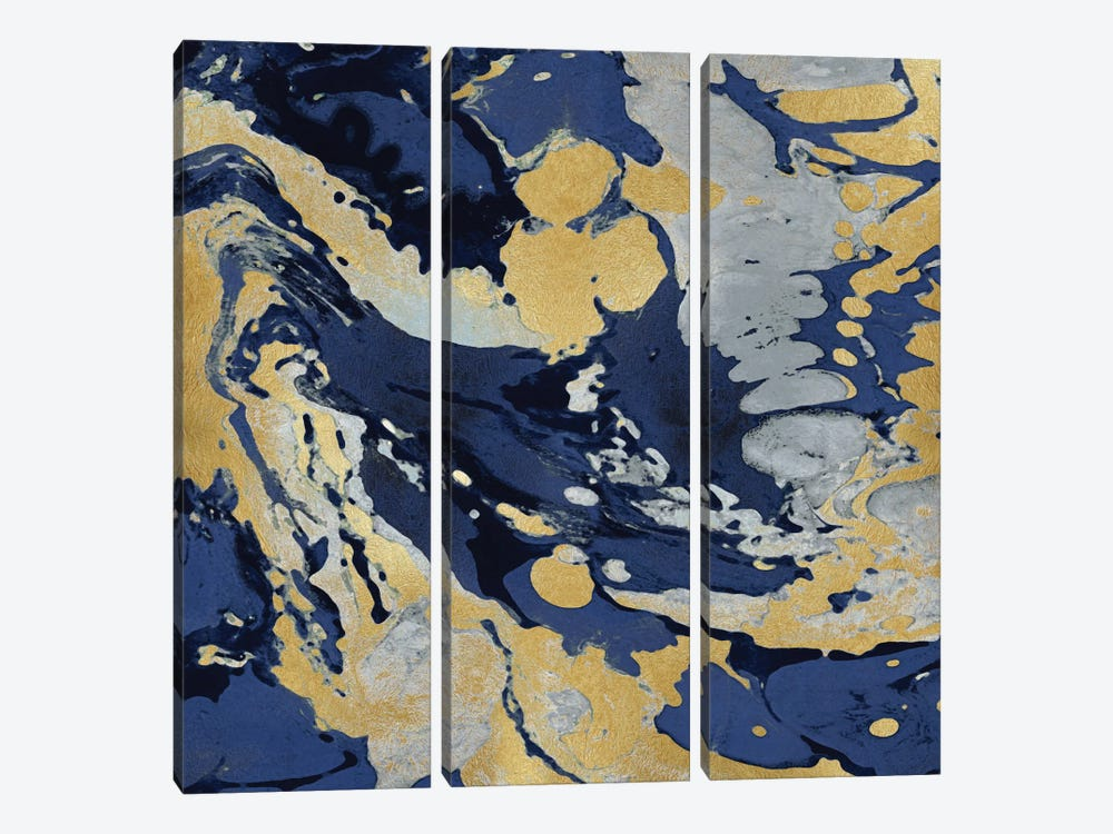 Marbleized In Gold And Blue II by Danielle Carson 3-piece Art Print