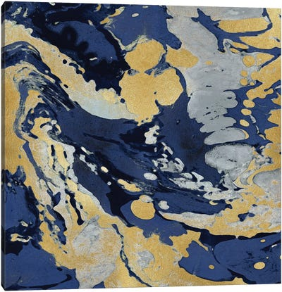 Marbleized In Gold And Blue II Canvas Art Print