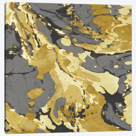 Marbleized In Gold And Grey I Canvas Print #DAC34} by Danielle Carson Canvas Art Print