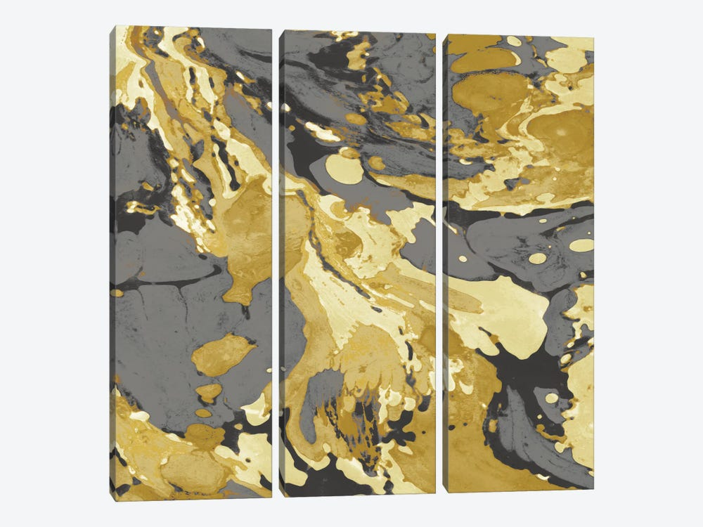 Marbleized In Gold And Grey I by Danielle Carson 3-piece Canvas Wall Art