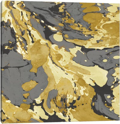Marbleized In Gold And Grey I Canvas Art Print