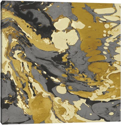 Marbleized In Gold And Grey II Canvas Art Print