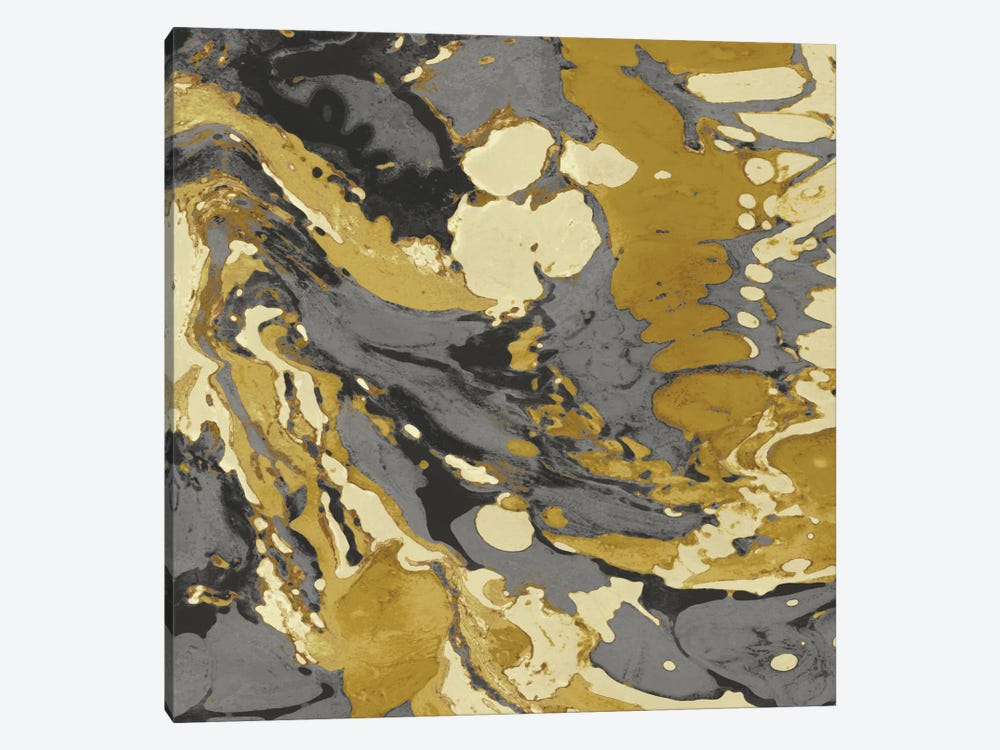 Marbleized In Gold And Grey II by Danielle Carson 1-piece Canvas Art Print