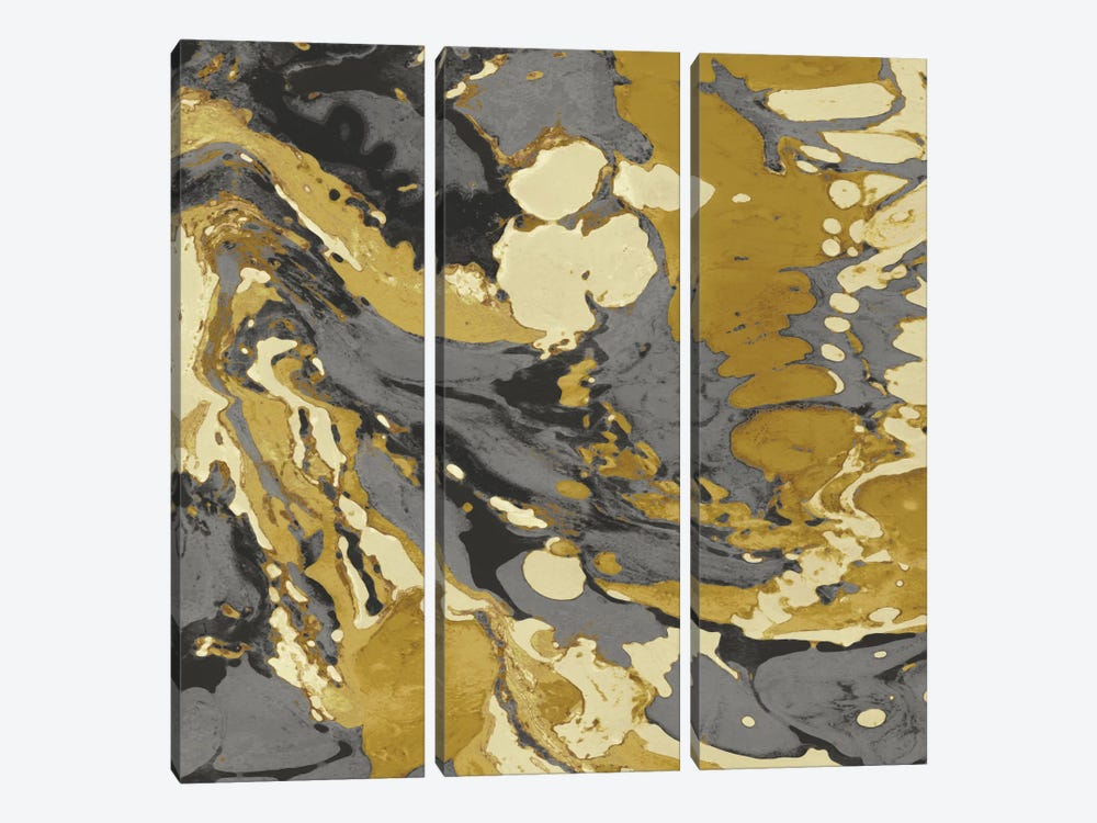 Marbleized In Gold And Grey II by Danielle Carson 3-piece Canvas Print
