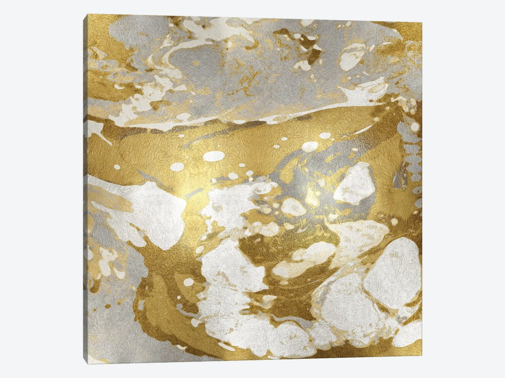 Marbleized In Gold And Silver by Danielle Carson 1-piece Canvas Art