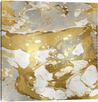 Marbleized In Gold And Silver Canvas Art Print