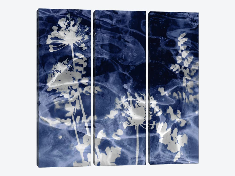 Indigo Leaves II by Danielle Carson 3-piece Art Print