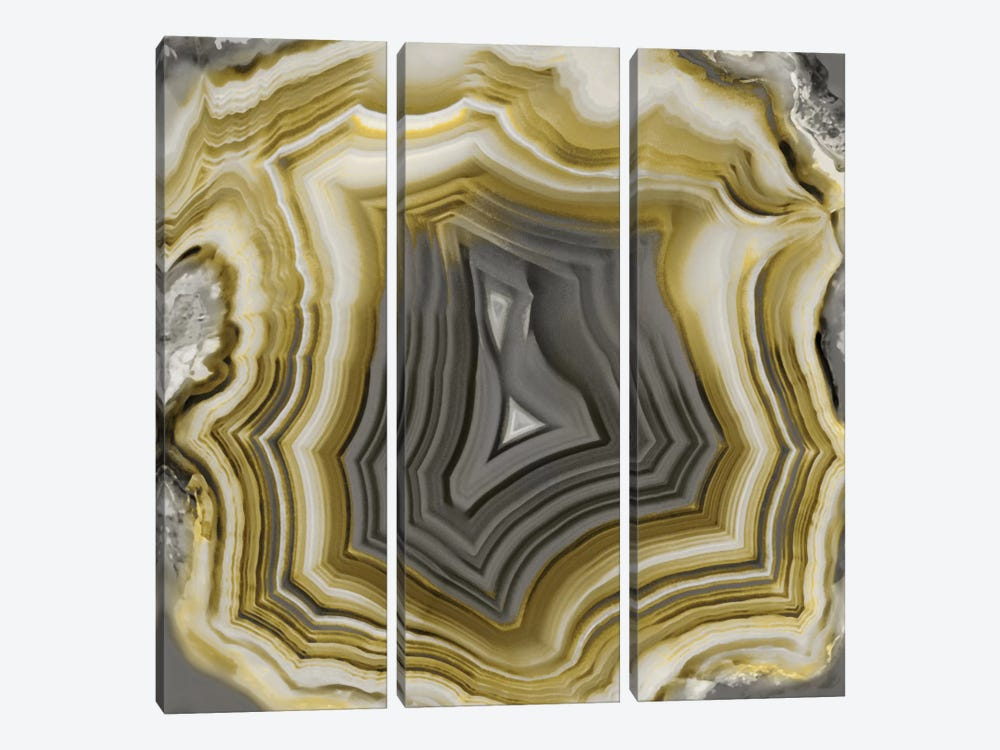 Agate In Gold & Grey by Danielle Carson 3-piece Canvas Art