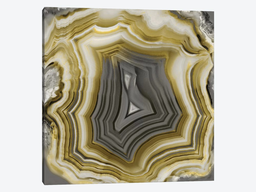 Agate In Gold & Grey by Danielle Carson 1-piece Canvas Wall Art