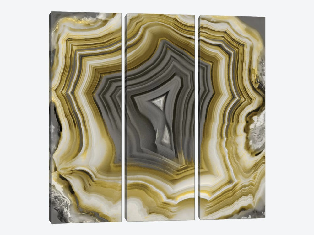 Agate In Gold & Grey II by Danielle Carson 3-piece Art Print
