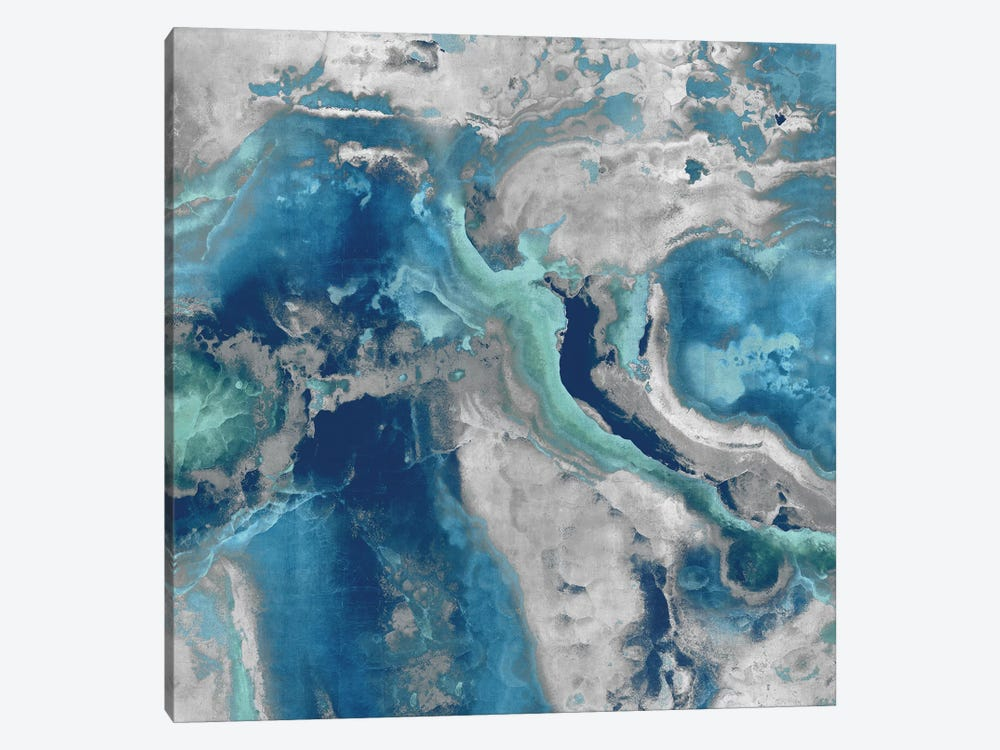 Stone With Blue And Aqua by Danielle Carson 1-piece Canvas Print