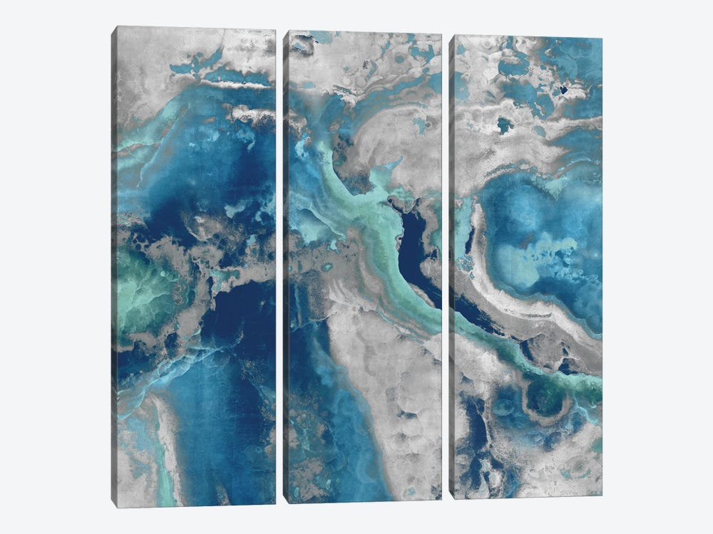 Stone With Blue And Aqua by Danielle Carson 3-piece Canvas Print