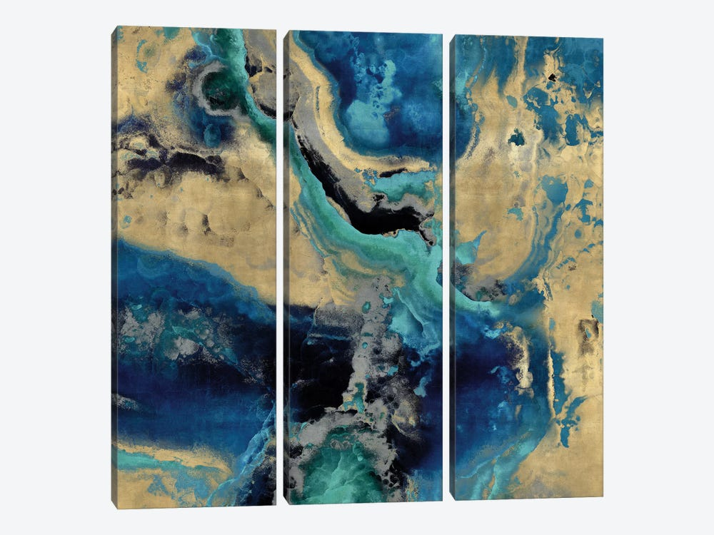 Stone With Blue And Gold by Danielle Carson 3-piece Canvas Artwork