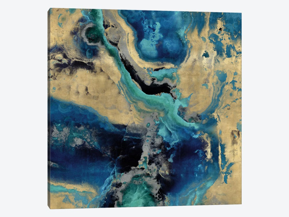 Stone With Blue And Gold by Danielle Carson 1-piece Canvas Wall Art