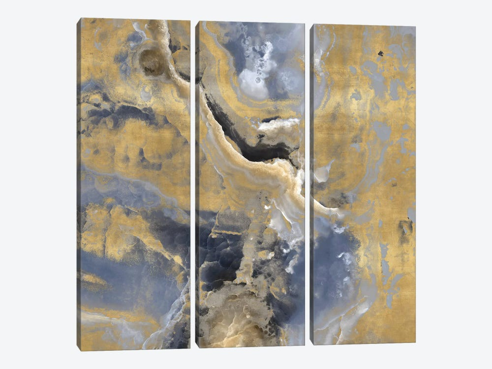 Stone With Gold And Gray I by Danielle Carson 3-piece Canvas Wall Art