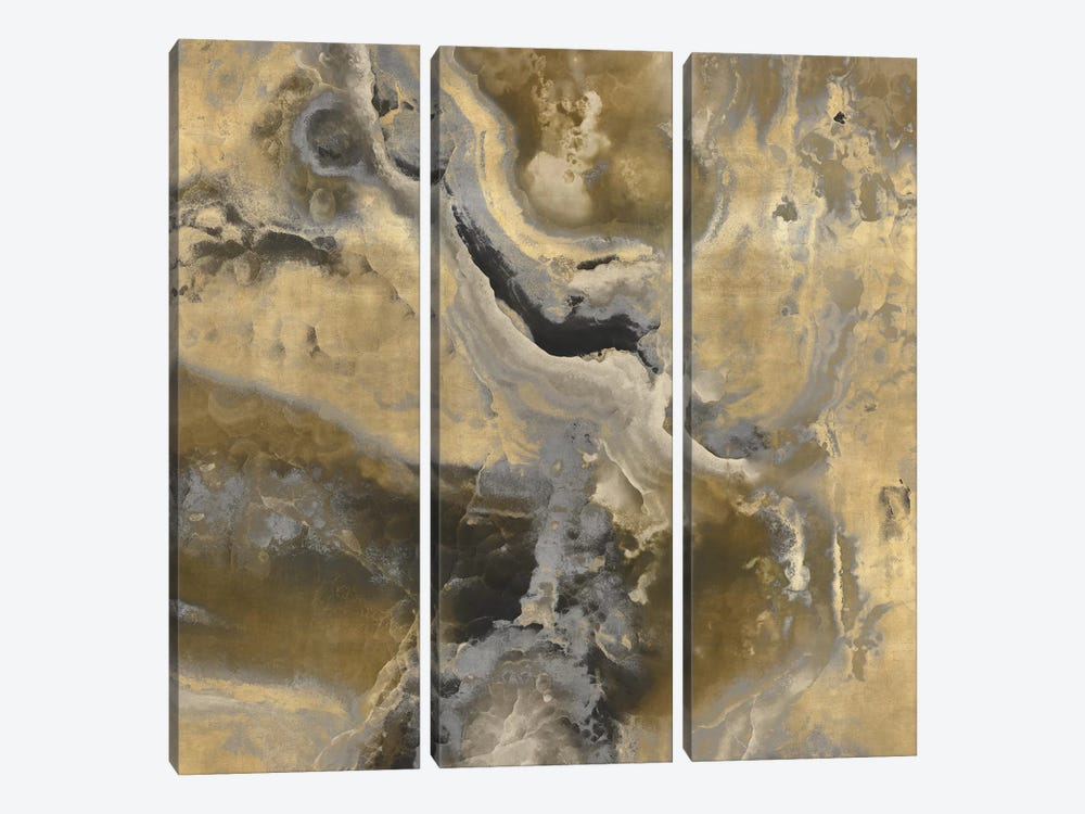 Stone With Gold And Gray II by Danielle Carson 3-piece Canvas Art Print
