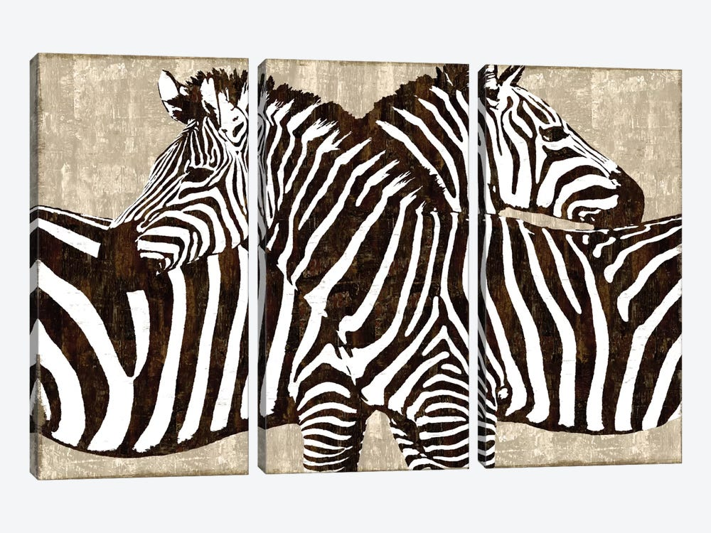 Zebra Gathering by Darren Davison 3-piece Canvas Print