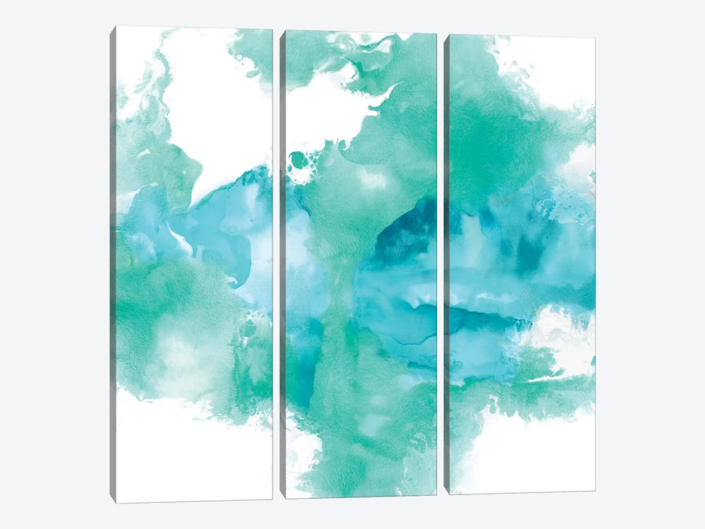 Ascending In Aqua by Daniela Hudson 3-piece Canvas Art Print
