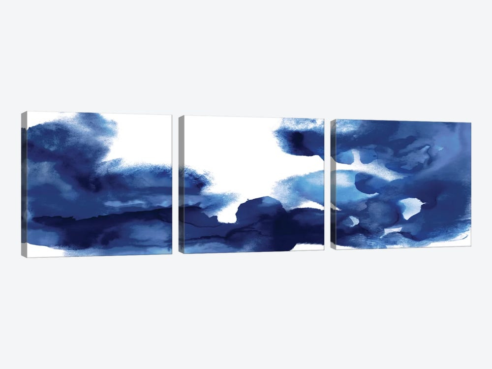 Movement In Indigo by Daniela Hudson 3-piece Canvas Art