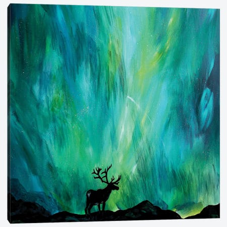 Elk Northern Lights Canvas Print #DAL26} by Lindsey Dahl Art Print
