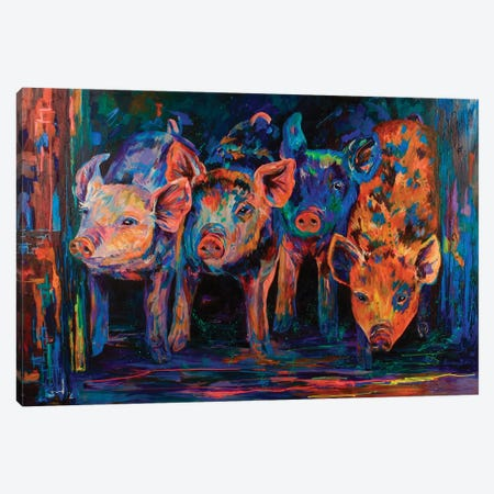 Four Little Pigs Canvas Print #DAL31} by Lindsey Dahl Canvas Print