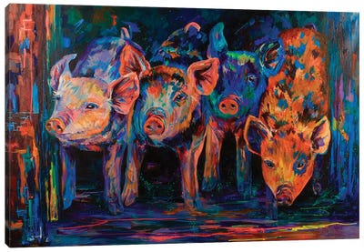 Four Little Pigs Canvas Art Print