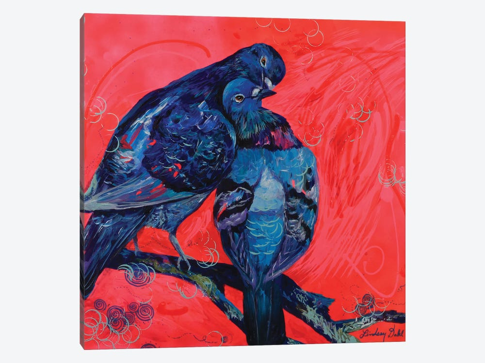 Pigeon Preen by Lindsey Dahl 1-piece Canvas Print