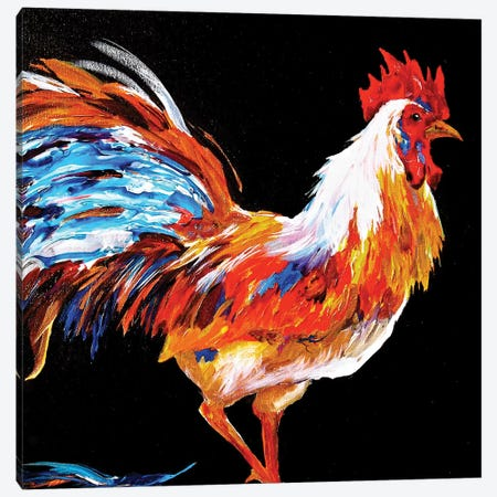 Rooster Canvas Print #DAL88} by Lindsey Dahl Canvas Artwork