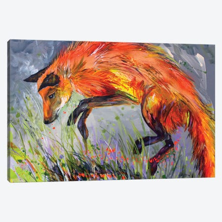 Spring Fox Canvas Print #DAL98} by Lindsey Dahl Canvas Art Print