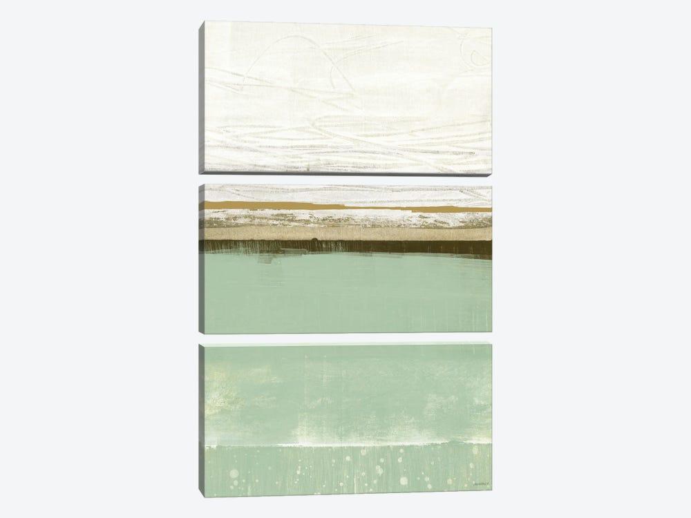 Familiar Feeling Green And Beige by Dan Meneely 3-piece Art Print
