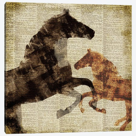 Horses on Newsprint I Canvas Print #DAM110} by Dan Meneely Canvas Wall Art