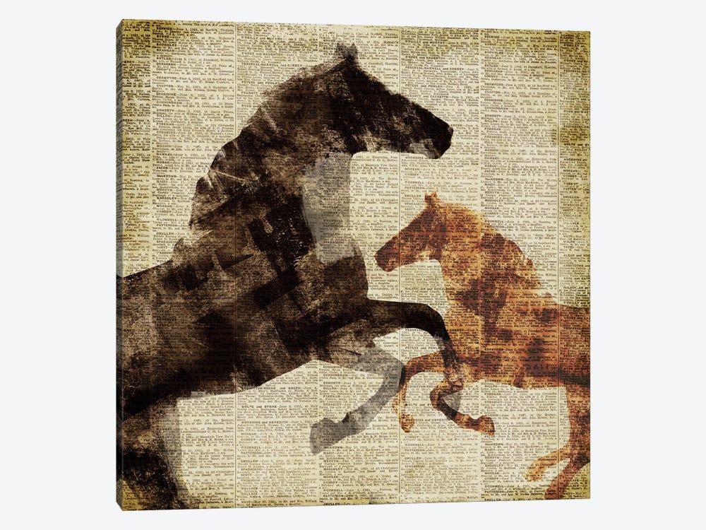 Horses on Newsprint I by Dan Meneely 1-piece Canvas Wall Art
