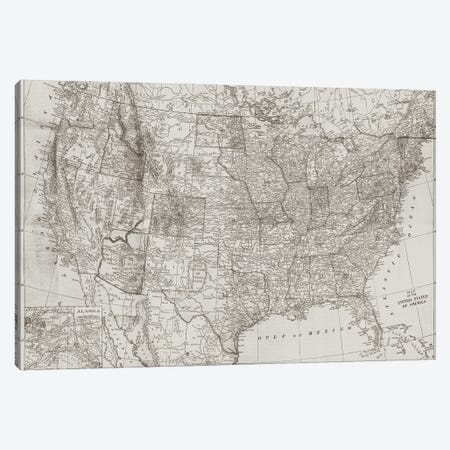 Natural US Map Canvas Print #DAM121} by Dan Meneely Art Print