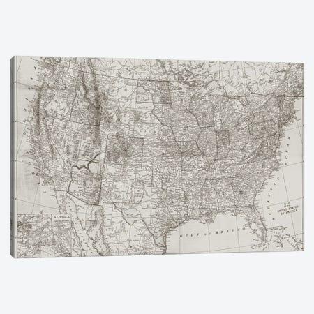 Natural US Map Canvas Print #DAM121} by Dan Meneely Art Print