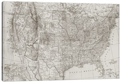 Natural US Map Canvas Art Print