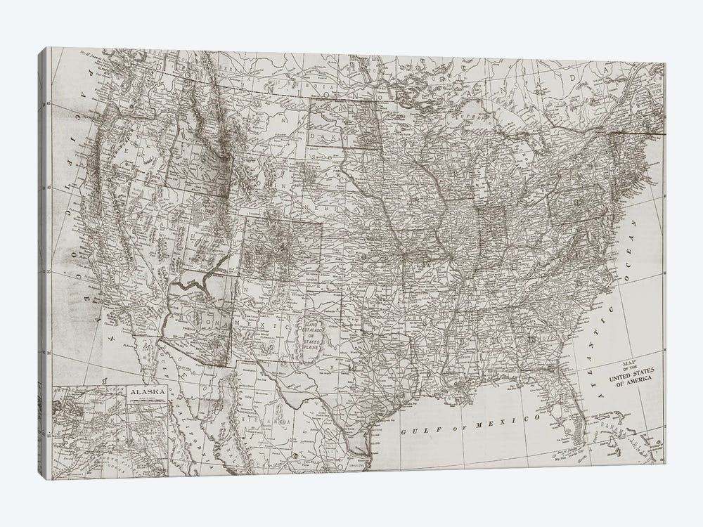 Natural US Map by Dan Meneely 1-piece Canvas Wall Art